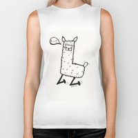 llama Biker Tanks featuring llama by justine