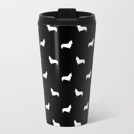 Corgi silhouette minimal black and white welsh corgi dog breed pet art Travel Mug