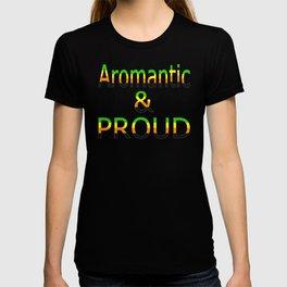 Aromantic and Proud (black bg) T-shirt