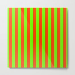 Super Bright Neon Orange and Green Vertical Beach Hut Stripes Metal Print