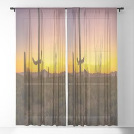 Spirit of the Southwest - Saguaro Cactus and Desert Plant Life in Warm Glow of Arizona Sunset Sheer Curtain