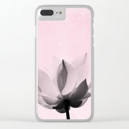 Lotus Flower   Pink Background Clear iPhone Case