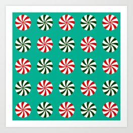 Striped Candy Mints in Christmas Colors Pattern Art Print