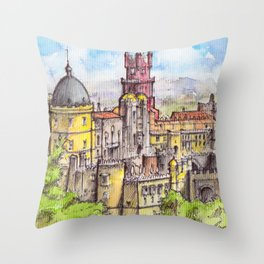 Pena Palace, Sintra, Portugal ink & watercolor illustration Throw Pillow