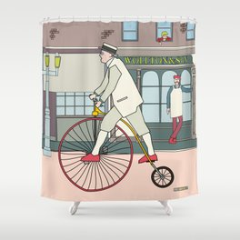 Steampunk Penny-Farthing Velocipedes Shower Curtain