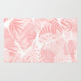 Abstract Soft Pink Tropical Design Rug