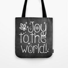 Joy to the world chalkboard christmas lettering Tote Bag