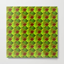 Volumetric pattern of convex squares with green mosaic diamond-shaped highlights and a checkerboard. Metal Print
