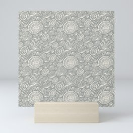 Nautilus Grey Pattern Mini Art Print