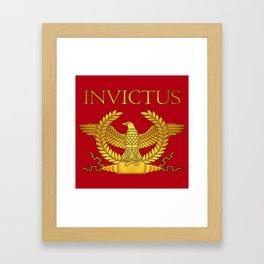Invictus Golden Eagle on Red Framed Art Print