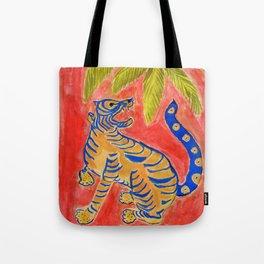 Tiger under palm Tote Bag