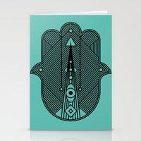 hamsa Stationery Cards featuring hamsa  by Leandro Pita
