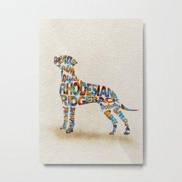 Rhodesian Ridgeback Dog Typography Art / Watercolor Painting Metal Print