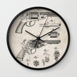 Western Revolver Patent - Antique Firearm Art - Antique Wall Clock