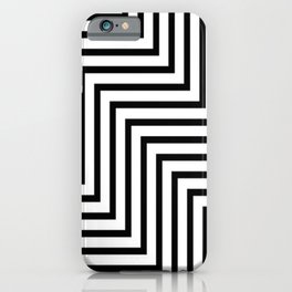 OP ART. ZIG ZAG, Black and White. iPhone Case