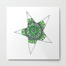 Green Superstar Mandala Star Metal Print