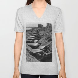 Cars Buried at Andrea Hotel - Misquemicut Beach, Westerly Rhode Island after 1954 Hurricane Carol Unisex V-Neck