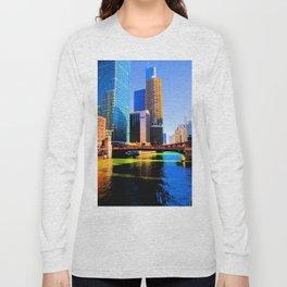 Clark St. Bridge, Chicago (Pop) Long Sleeve T-shirt
