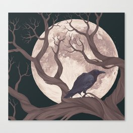 The raven and the moon Canvas Print
