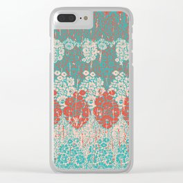 floral paisley in vermillion and teal Clear iPhone Case