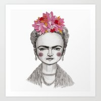 frida kahlo Art Prints featuring Frida Kahlo by Maripili