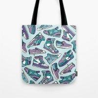 sneaker Tote Bags featuring Sneaker Lover in Purple by Artwork by Brie
