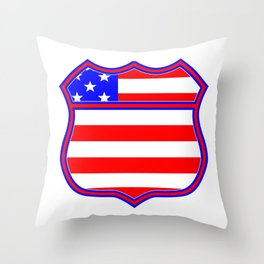 Route 66 Sign Silhouette With Flag Throw Pillow