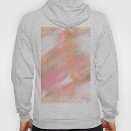 Abstract spring summer pink mustard white brushstrokes acrylic paint Hoody