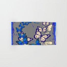 Blue Butterflies Blue & Purple Grey Pattern Abstract Hand & Bath Towel