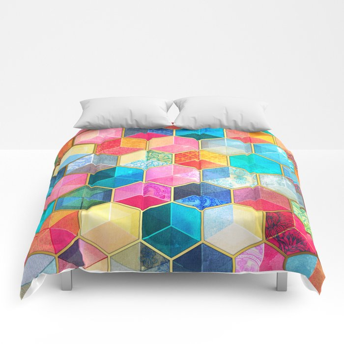 Crystal Bohemian Honeycomb Cubes - colorful hexagon pattern Comforters
