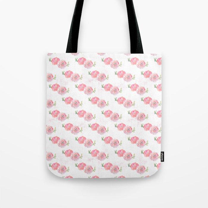 Pink Watercolor Ranunculus print w/grunge Tote Bag