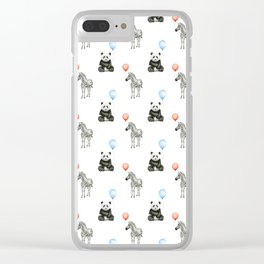 Panda and Zebra Balloons Pattern, Baby Animals Birthday Pattern Clear iPhone Case