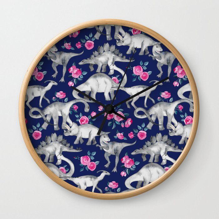 Dinosaurs and Roses on Dark Blue Purple Wall Clock