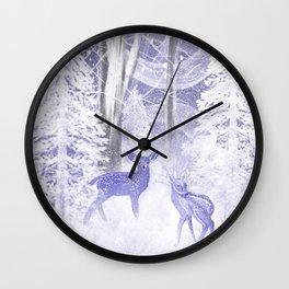 Winter Fawns Wall Clock