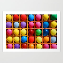 colorful balloons in wooden boxes, attraction Art Print