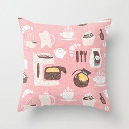 Pastel Café Pink Throw Pillow