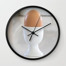 Boiled egg in white. Wall Clock