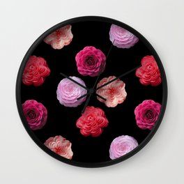Pattern with camellias Wall Clock