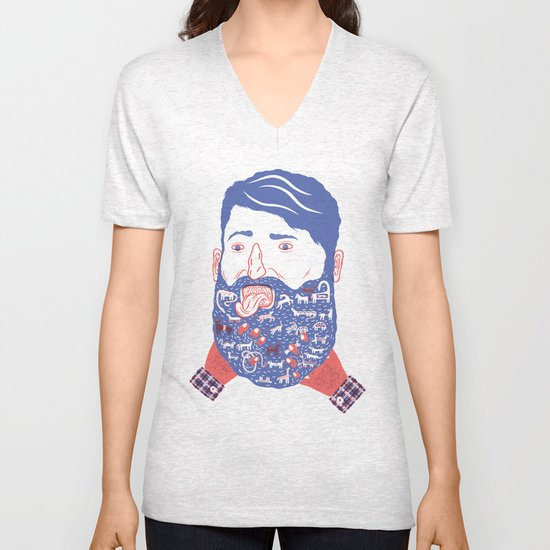 Animals in Beard Unisex V-Neck