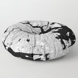 Boston Black and White Map Floor Pillow