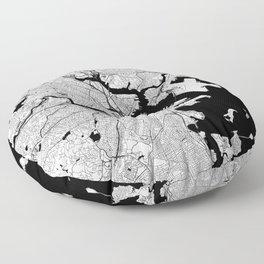 Boston Black and White Map Floor Pillow