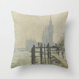 Claude Monet - The Thames Below Westminster Throw Pillow