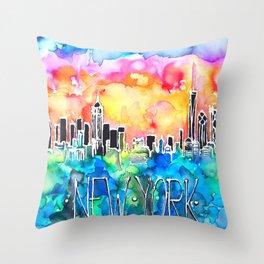 New York / watercolor mixed media bright city skyline modern skyscraper Throw Pillow