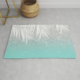 Modern tropical white palm tree silver glitter ombre on robbin egg blue turquoise Rug