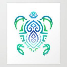 Tribal Turtle on White Art Print