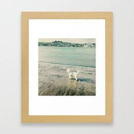 Westie and beach Framed Art Print