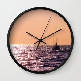 Sunset sailing Wall Clock