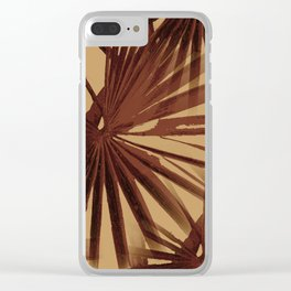 Burgundy and Coffee Tropical Beach Palm Vector Clear iPhone Case