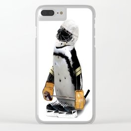 Little Mascot Hockey Player Penguin Clear iPhone Case