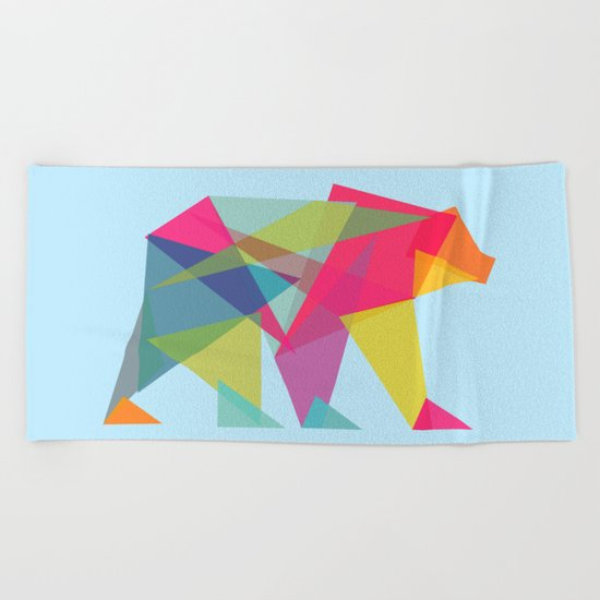Fractal Bear - neon colorways Beach Towel